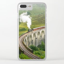 Hogwart Express steam engine in the scottish highlands Clear iPhone Case