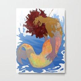 Mermaid Makes a Splash (Transparent!) Metal Print