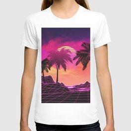 Pink vaporwave landscape with rocks and palms T-shirt
