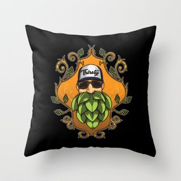 Thirsty Beard - Hops Hipster - Brewery Style Throw Pillow