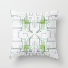 Circuit board green repeat Throw Pillow