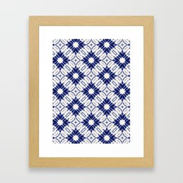 Watercolor Shibori Blue Framed Art Print