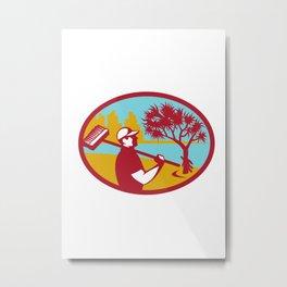 Cleaner Pandanus Tree Coast Oval Retro Metal Print