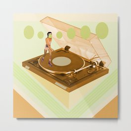 the girl who was roller skating on a record player... Metal Print