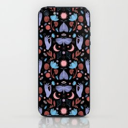 Lotus and Moths (colored) iPhone Skin