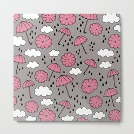 Blue umbrella sky rainy day abstract fall illustration pattern pink Metal Print
