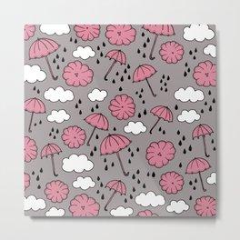 Blue umbrella sky rainy day abstract fall illustration pattern pink Metal Print