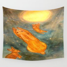 Rabbits on a Snowy Night Wall Tapestry