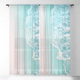 Turquoise Blush Ocean Dream #1 #water #decor #art #society6 Sheer Curtain