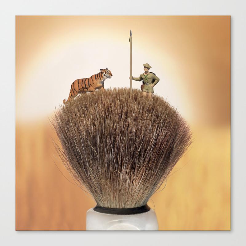 Shaving Brush Savanna Canvas Print by Wkass CNV9029208
