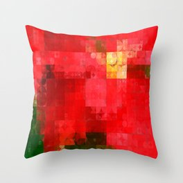 Mottled Red Poinsettia 1 Ephemeral Abstract Circles 2 Throw Pillow