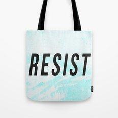 RESIST 1.0 - Black on Teal #resistance Tote Bag