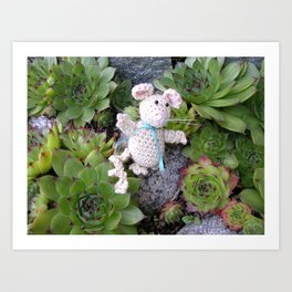 Mouse in minigarden Art Print