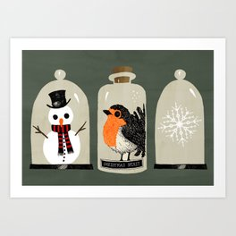 Christmas Bell Jars Art Print