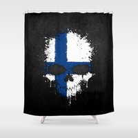 finland Shower Curtains featuring Flag of Finland on a Chaotic Splatter Skull by Jeff Bartels