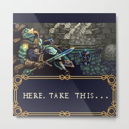Dark Souls Gameboy Demake: Oscar's Last Wish Metal Print