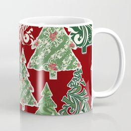 Peppermint Christmas Modern Trees with Mod Scroll Swirl Patterns Coffee Mug