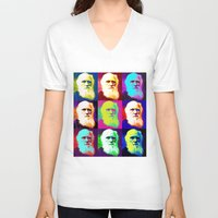 darwin V-neck T-shirts featuring Evolution of Darwin by JustDave