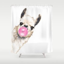 Bubble Gum Sneaky Llama Shower Curtain