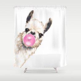 Bubble Gum Sneaky Llama Shower Curtain