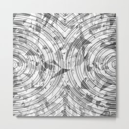 psychedelic geometric circle pattern abstract background in black and white Metal Print