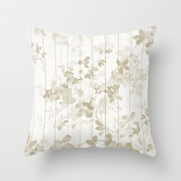 Rustic vintage white wood bohemian brown floral Throw Pillow