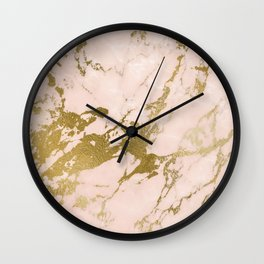 Champagne Blush Marble Wall Clock