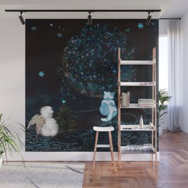 BLUE CHRISTMAS STARGAZERS ~ BACK WHERE MY HEART IS LONGING TO BE Wall Mural