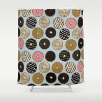 doughnut Shower Curtains featuring Doughnut Pattern by Blue Laurel Paper Co