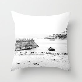 La Jolla Seawall Throw Pillow