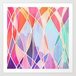 Purple & Peach Love - abstract painting in rainbow pastels Art Print