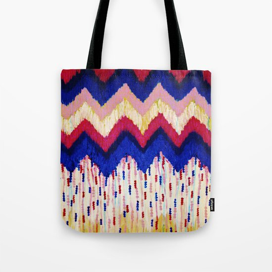 SHINE ON, Revisited - Americana Red White Blue USA Abstract Acrylic Painting Home Decor Xmas Gift Tote Bag