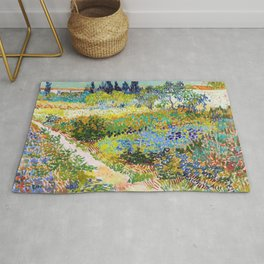 Vincent van Gogh - Garden At Arles, Flowering Garden With Path - Digital Remastered Edition Rug