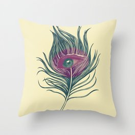 Feather in my eye Throw Pillow