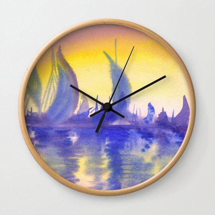 Sunset on marina Wall Clock
