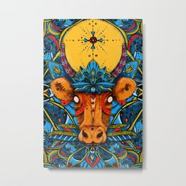 Holy Cow! Blue Lotus Mandala. Metal Print