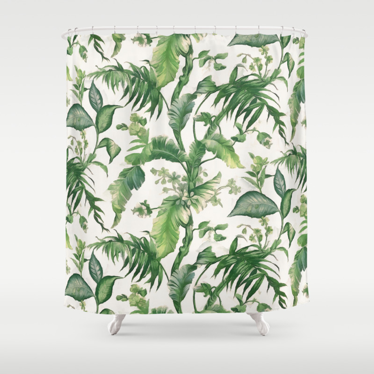 Green Tropical Leaves Shower Curtain By Catyarte Society6 Matching bath mat (image 2) and towel (image 3). society6
