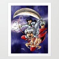 inuyasha Art Prints featuring Inuyasha & Kagome by MarioRojas