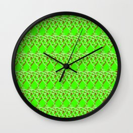 Braided diagonal pattern of wire and light arrows on a green background Wall Clock