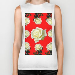 WHITE ROSES RED GARDEN DESIGN Biker Tank