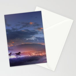 Fascinating Wild Fairytale Horses Running Across Mystic Fire River Dreamy Sunset UHD Stationery Cards