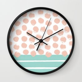 Mint Stripes & Pink Dots Wall Clock