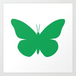 Green Butterfly Pattern and Print Art Print