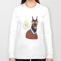doberman Long Sleeve T-shirts featuring Doberman by Holanes