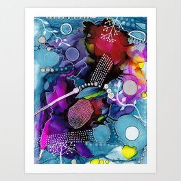 Dark Reef of Currant and Indigo Art Print