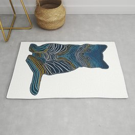 Meow Meow - White Background Dotted Cat  Rug