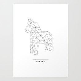 A Swedish Dala horse poster Art Print