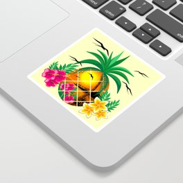Pineapple Tropical Sunset, Palm Tree and Flowers Sticker