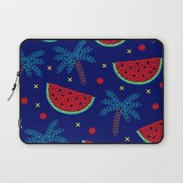 Tropical mosaic design on blue Laptop Sleeve
