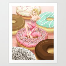 Donut Girl Art Print